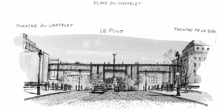 Zwischen dem Théâtre du Châtelet und dem Théâtre de la Ville soll eine Brücke gebaut werden