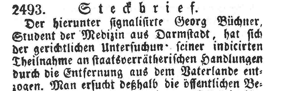 Georg Büchner wurde steckbrieflich gesucht
